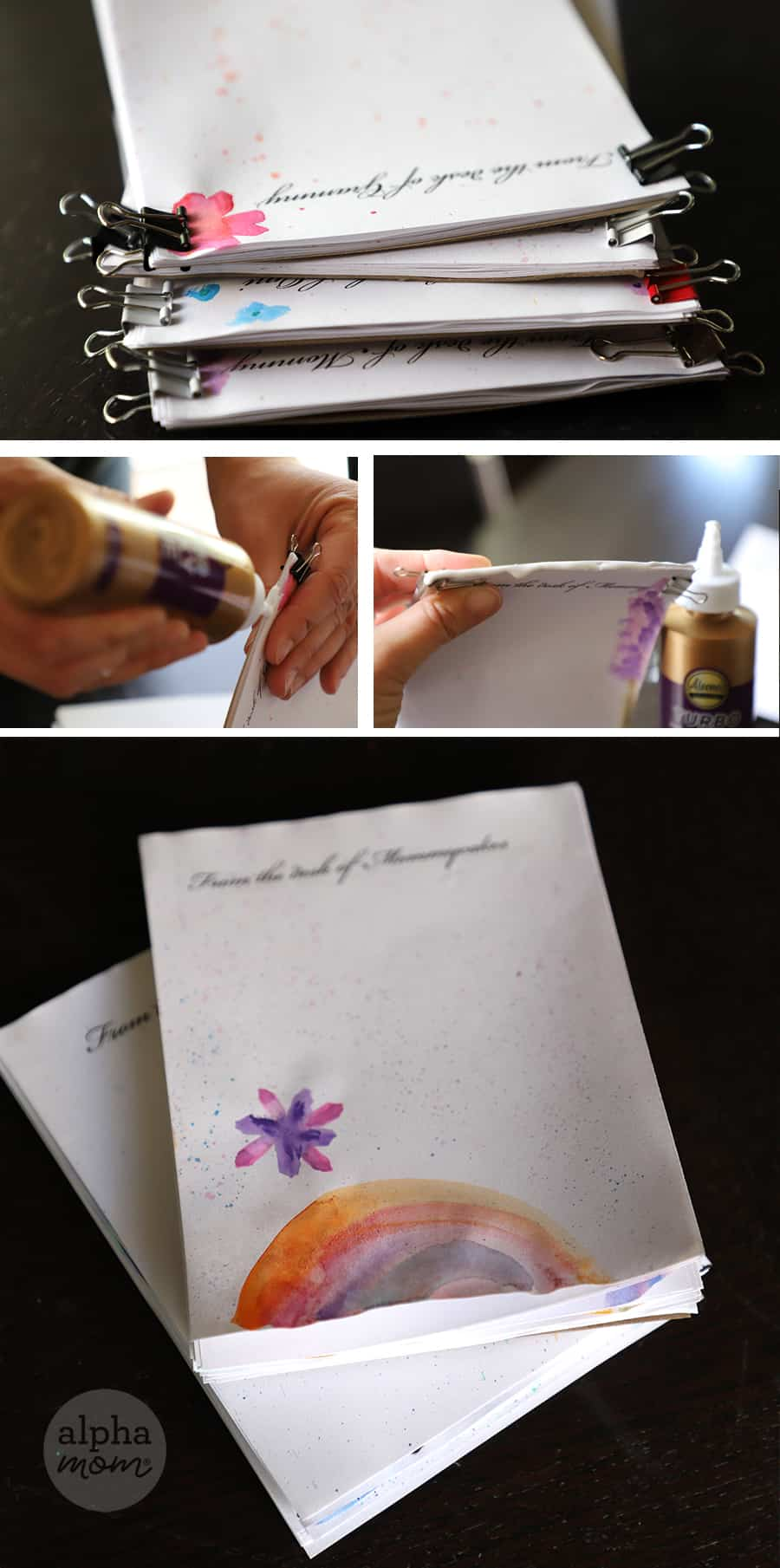 close-up picture of handmade notepads that read From the Desk of Grammy