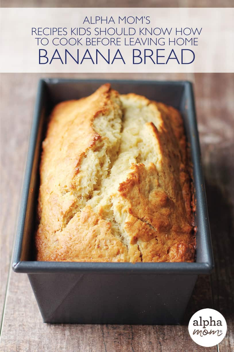 Pan of banana bread