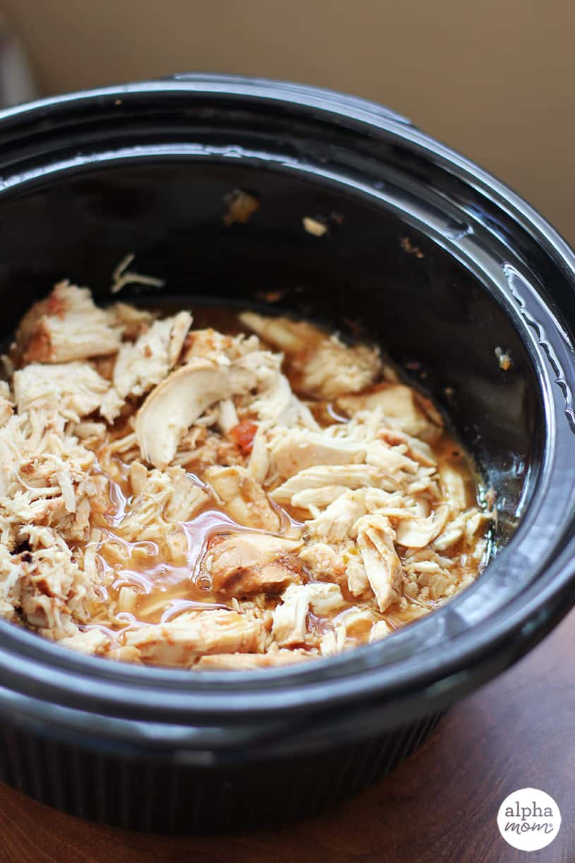 Slow cooker salsa chicken recipe in the crock pot it was cooked in