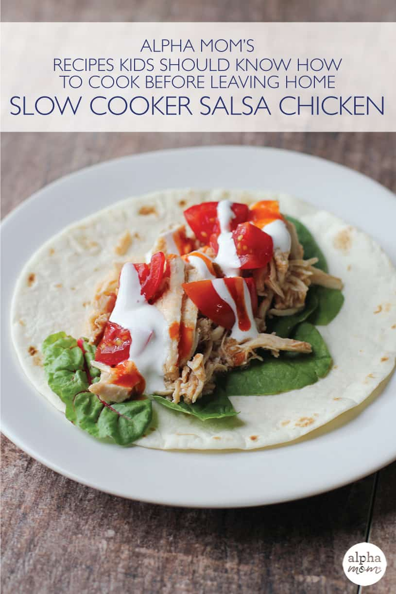 Plate with a taco using slow cooker salsa chicken as the main ingredient