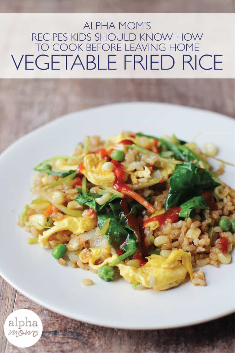 Side view of a plate of homemade vegetable fried rice