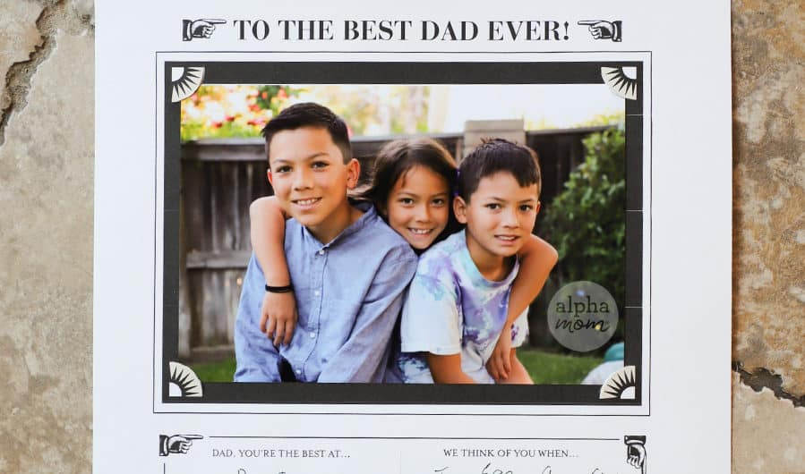 Best Dad Ever card with photo of three kids for Father's Day