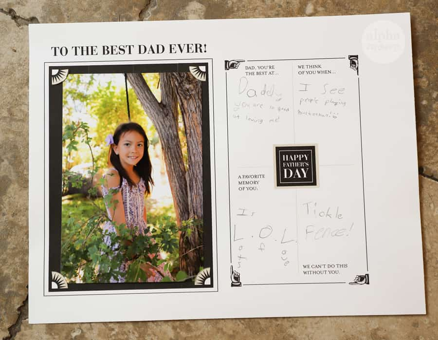 overhead shot of completed Father's Day printable with picture of girl and memories written by child