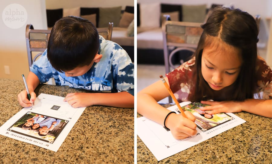 side-by-side shots of boy and girl filling out memories for Father's Day printable