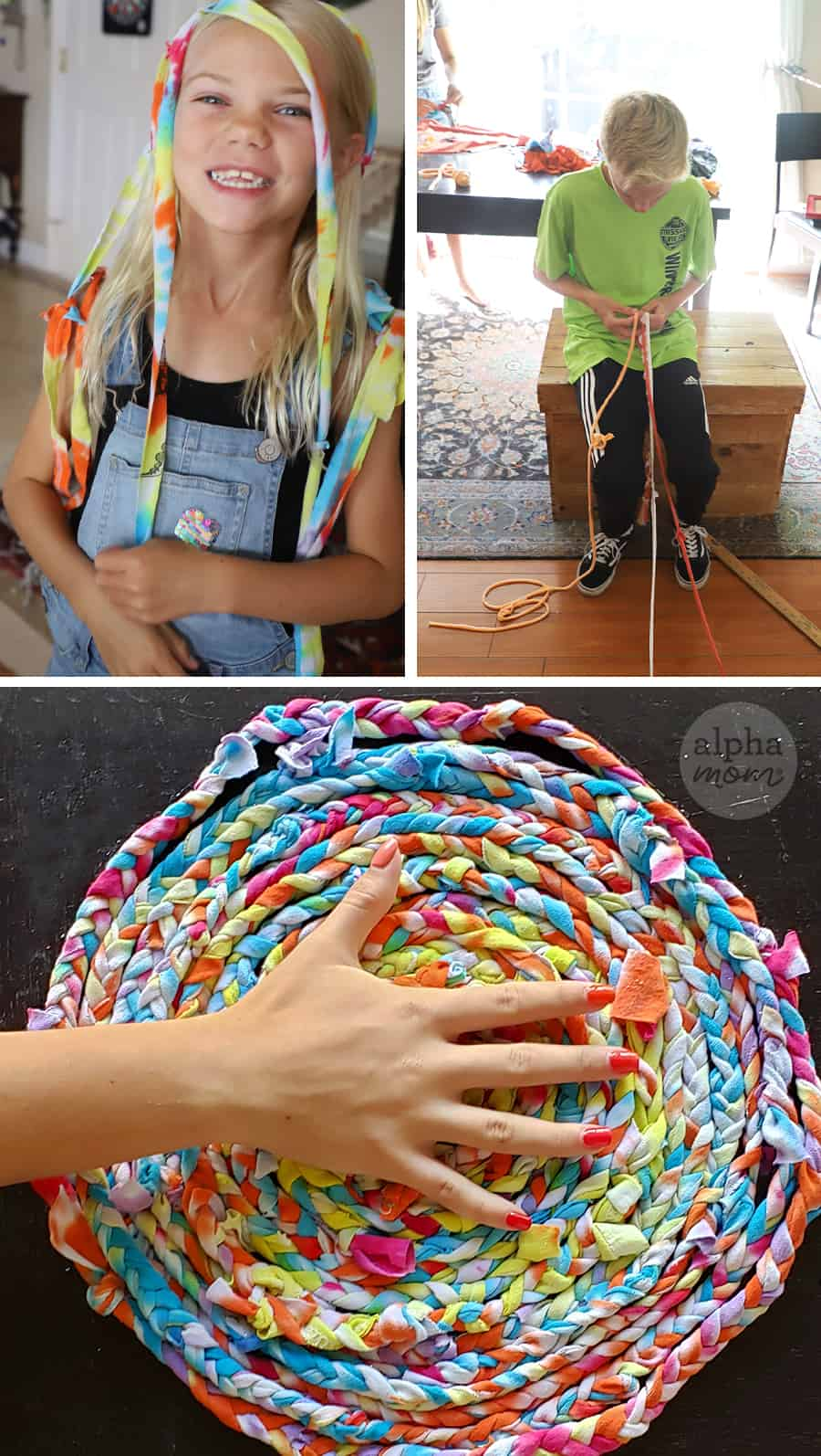 triptych of kids weaving strips of tie-dyed t-shirts into a small rag rug
