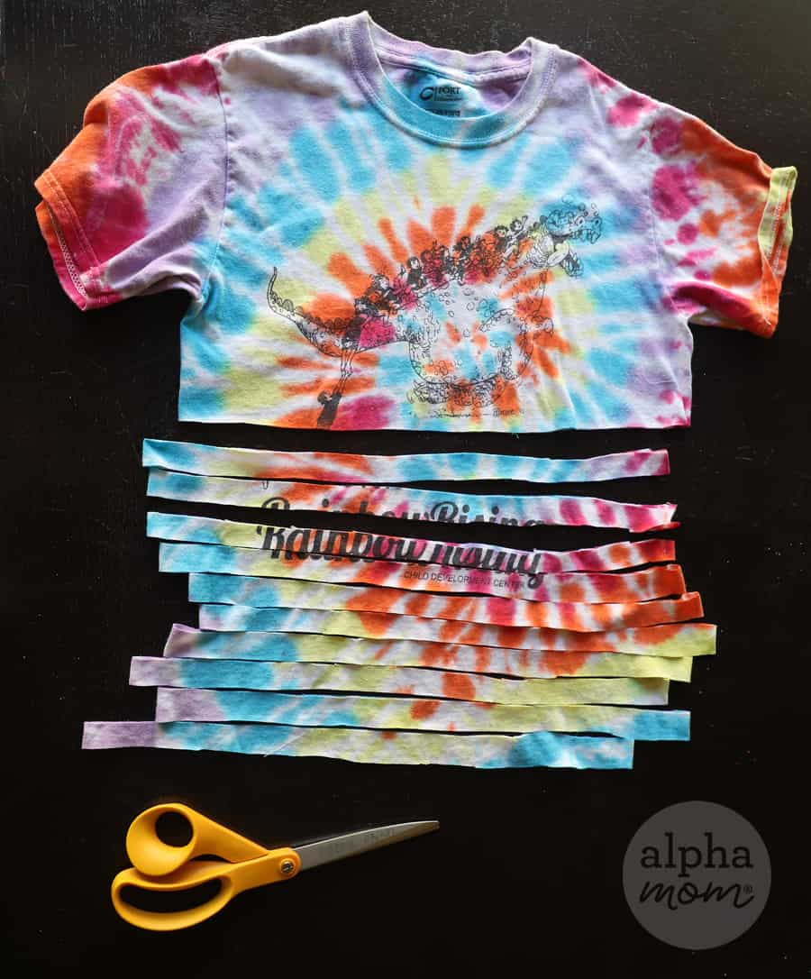 tie-dyed t-shirt cut into strips for a craft