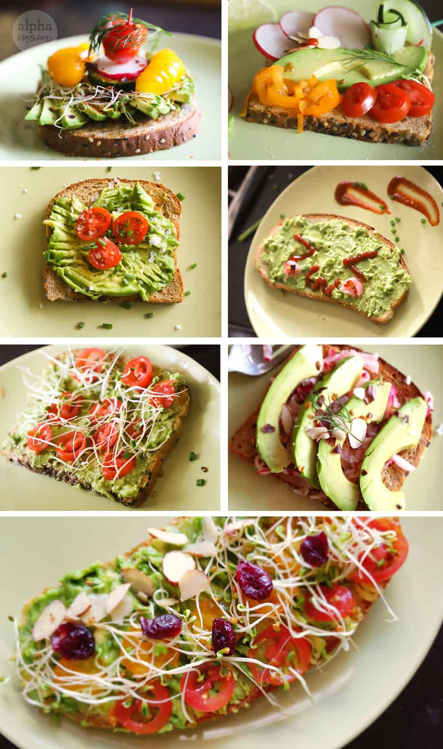 gallery of seven photos of different examples of avocado toast with different food toppings