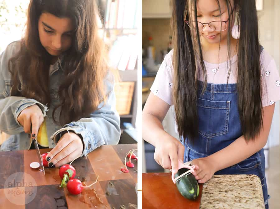 diptych of two teen girls slicing vegetables