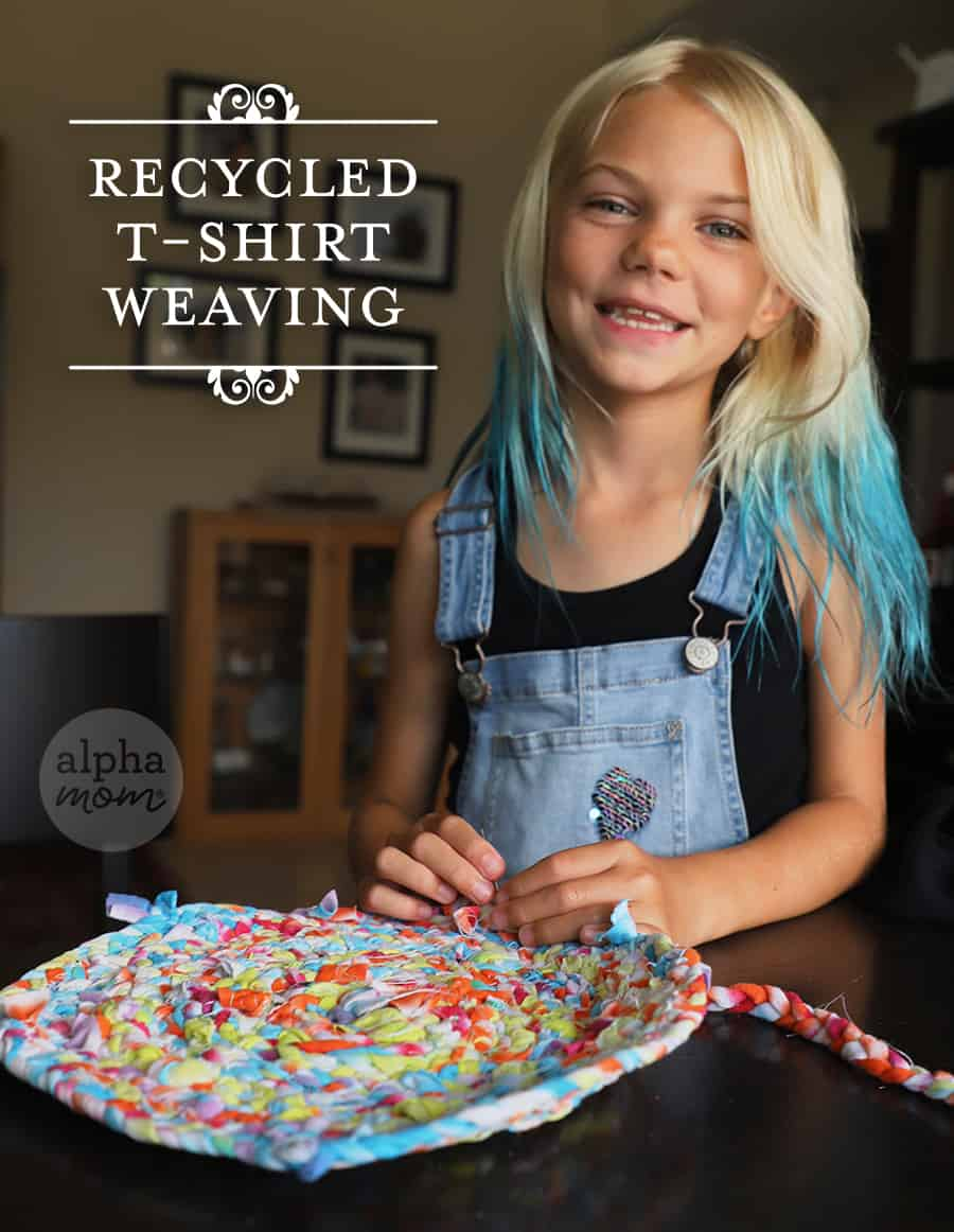 Blond girl with finished craft of t-shirts upcycle into a cute and extra large potholder