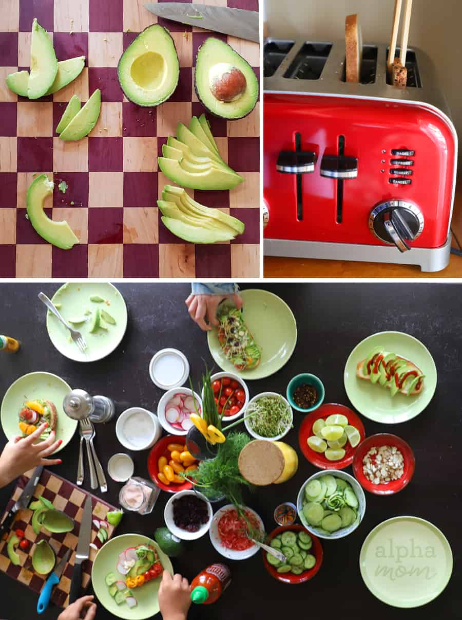 Triptych of overhead shot of sliced avocado, toast popping out of red toaster, and overhead shot of topping for avocado toast