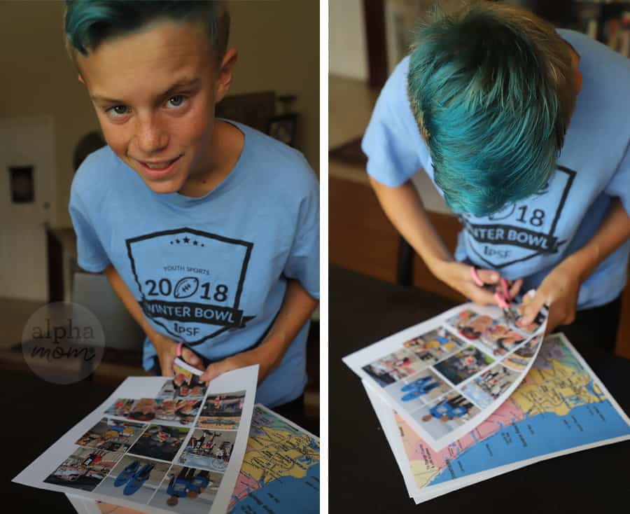 Diptych of boy cutting out photos printed on paper