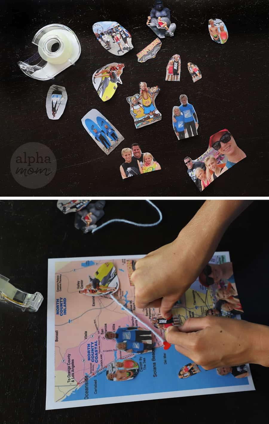 Diptych of overhead shots of cut out photos and hands pasting photos on to a small map