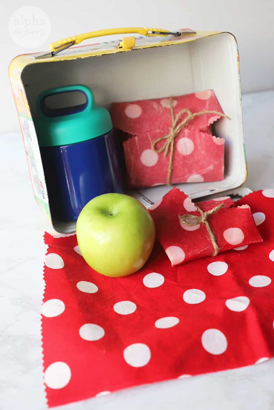 Waxed-Fabric Food Wrap apple and food container in open vintage lunchbox