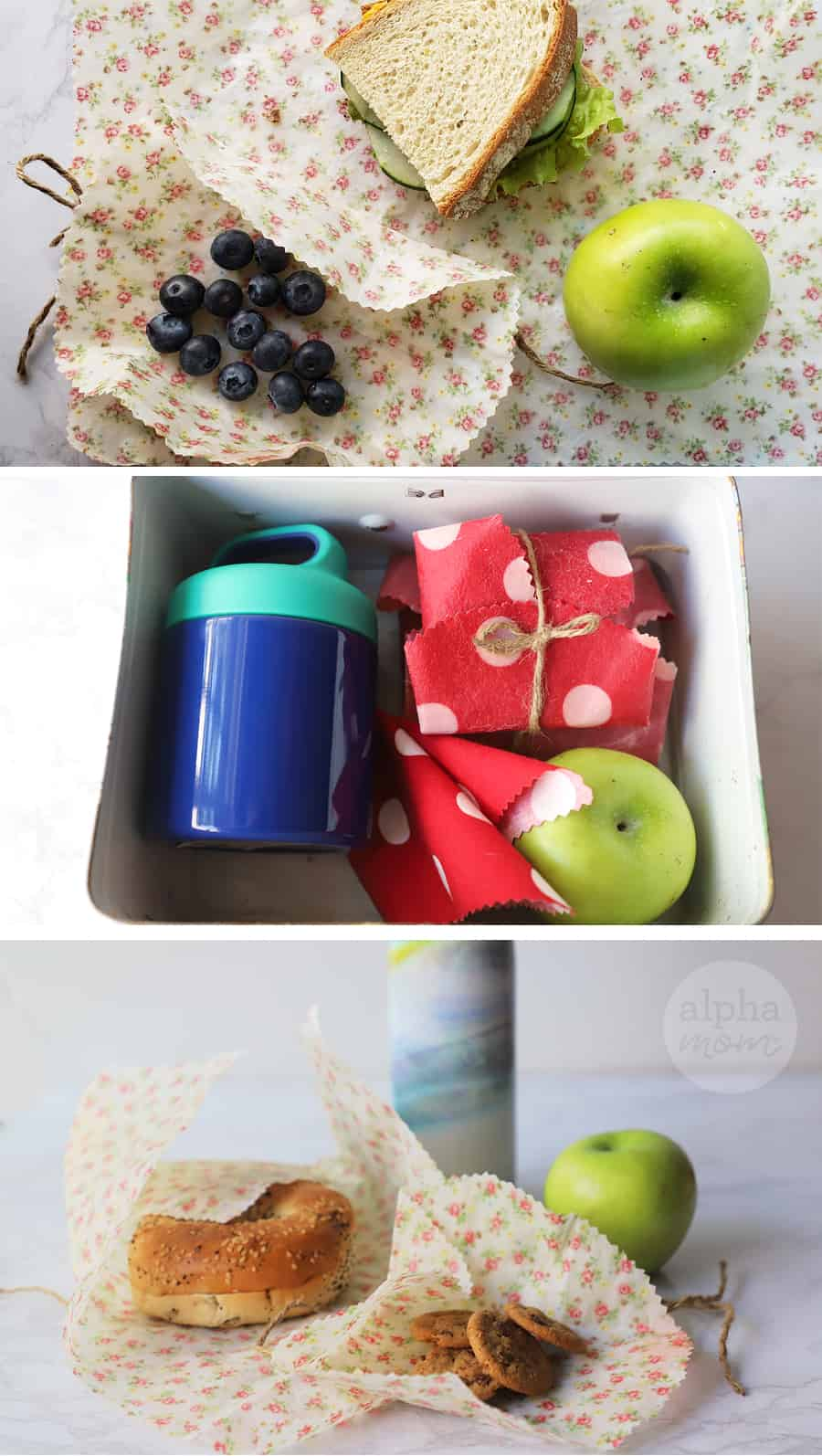 Triptych of school lunch sandwich and fruit wrapped in reusable Waxed-Fabric Food Wraps