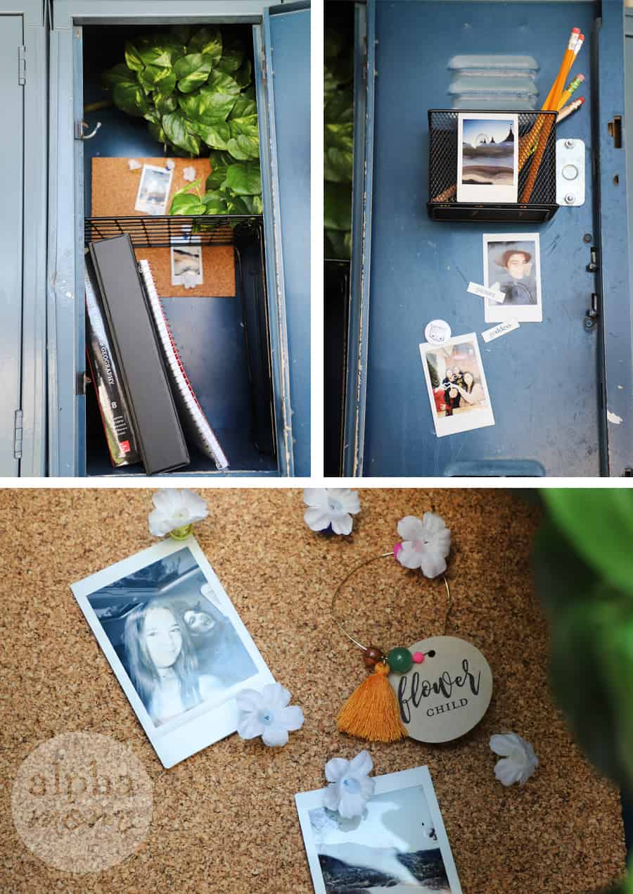 diptych of decorated school locker with pictured pinned to corkboard