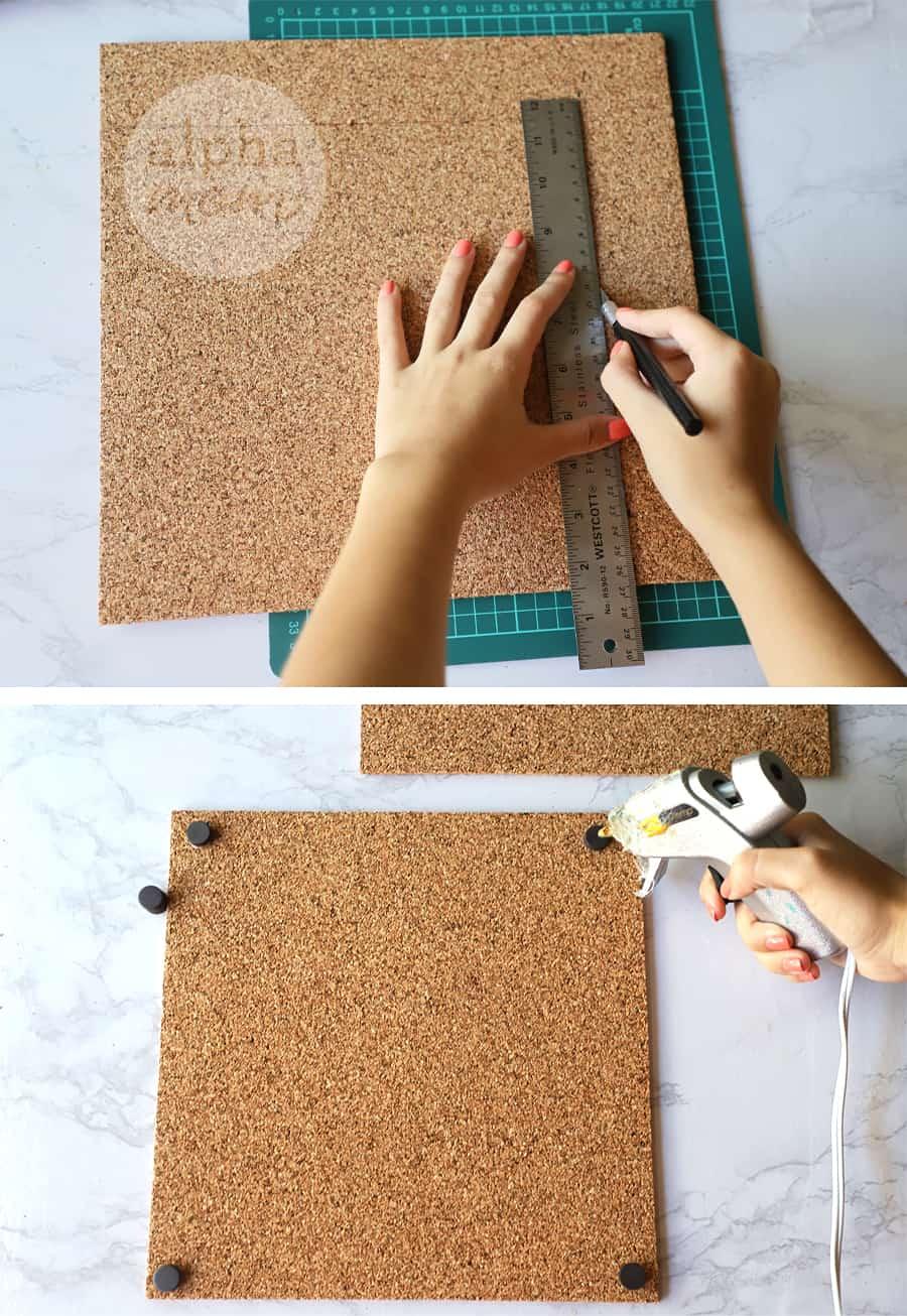 diptych of diy of making magnetic corkboard for school locker