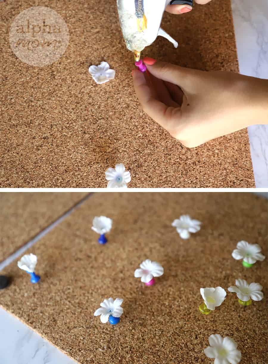 diptych of hands using glue gun to add fake flowers to push pins for corkboard