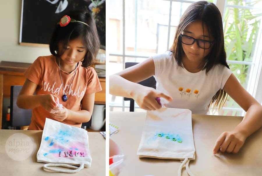 diptych of children using fabric paint to decorate their fabric lunch bags