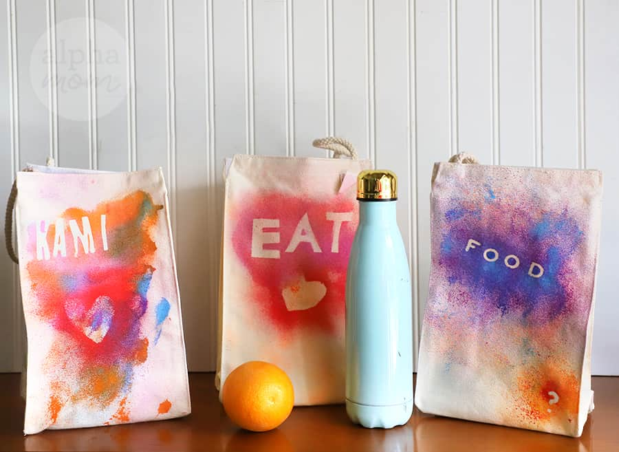 three cloth lunch bags customized with fabric paint