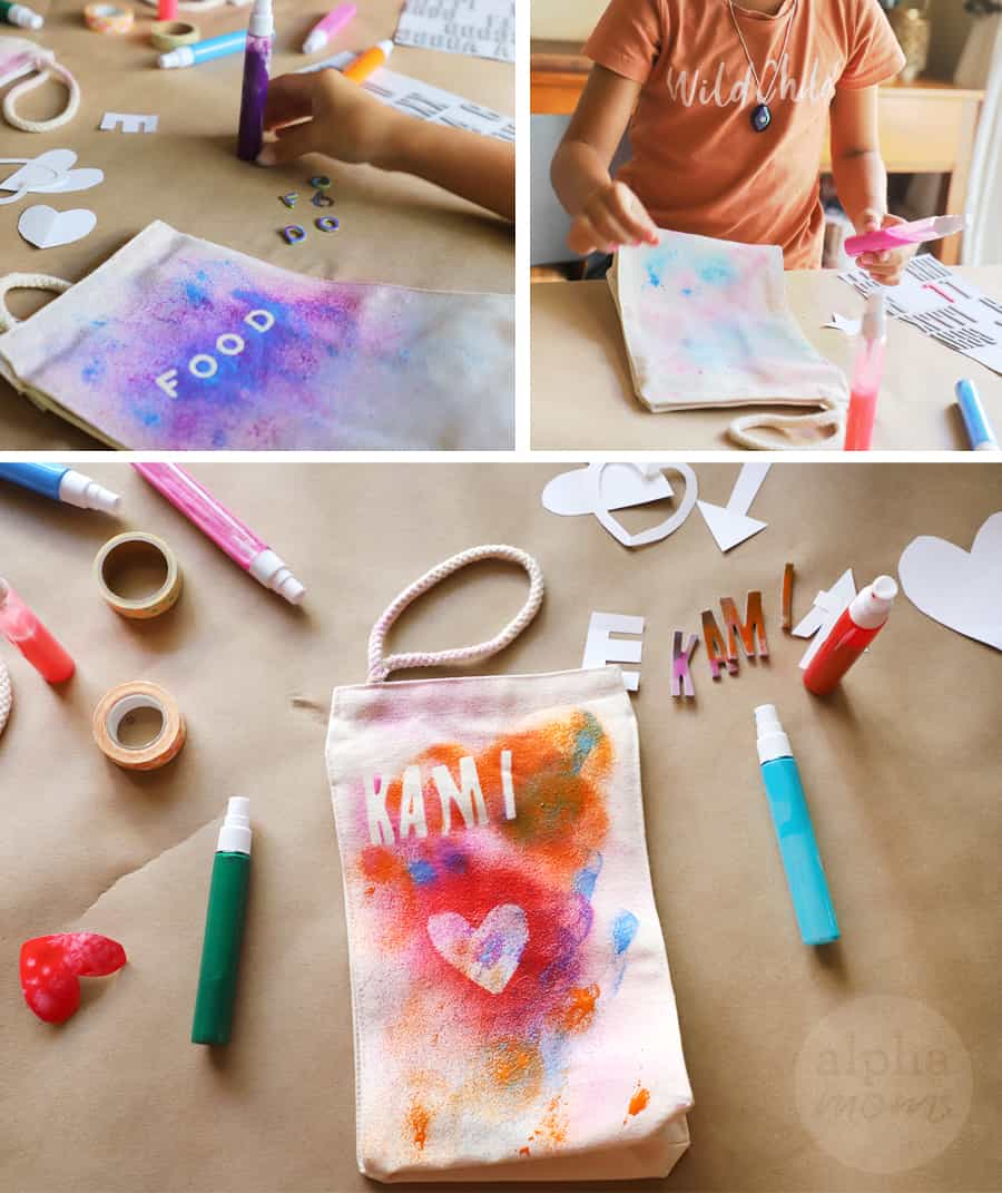triptych of kids decorating their fabric lunch bags with fabric paint