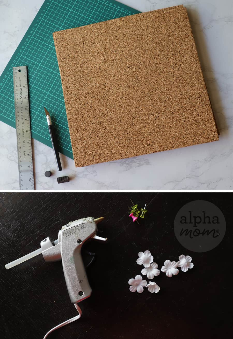 diptych of supplies to make magnetic corkboard for school locker