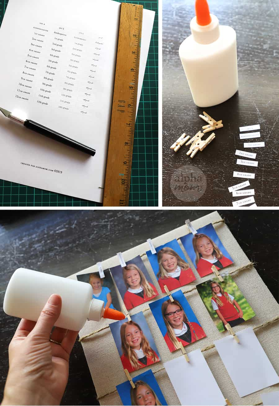 triptych of supplies for gluing labels onto clips for photo display of school portraits
