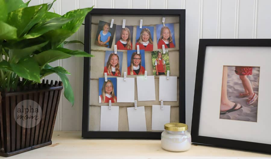 shadowox frame filled with school portraits displayed on desk