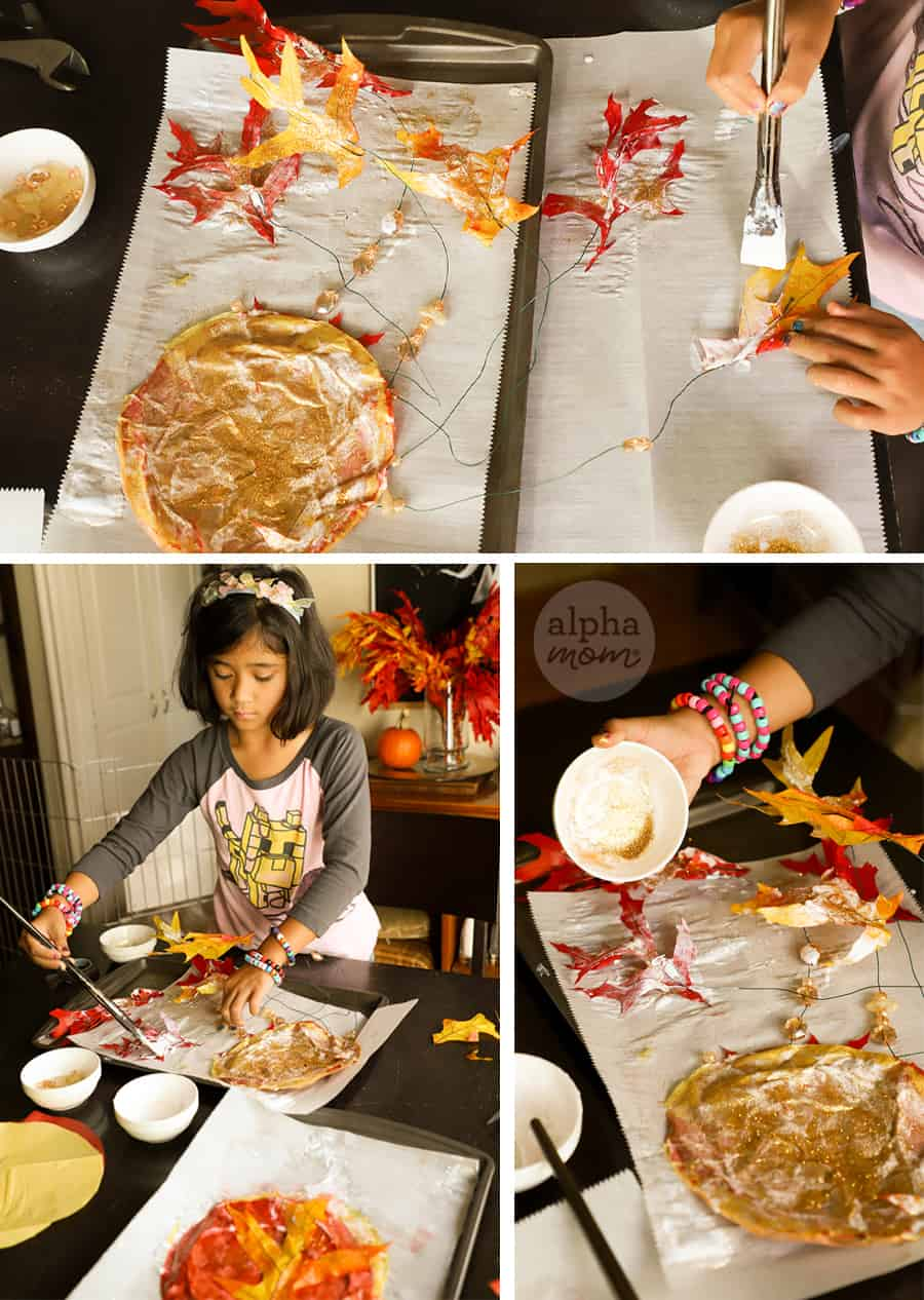 three photos girl painting more modge podge glue to leaves of suncatcher leaf craft