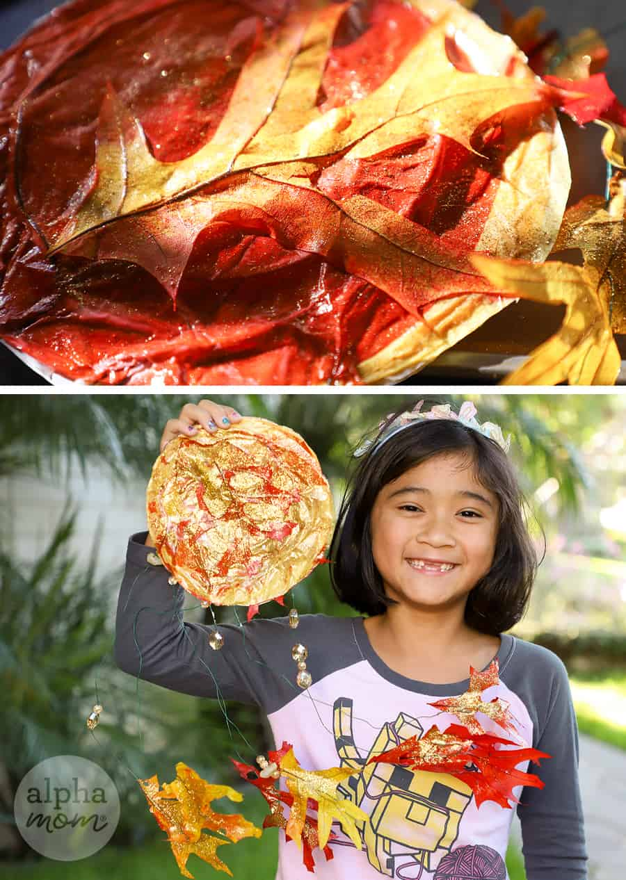 two photos of leaf suncatcher, one close-up and one of a girl holding up her craft