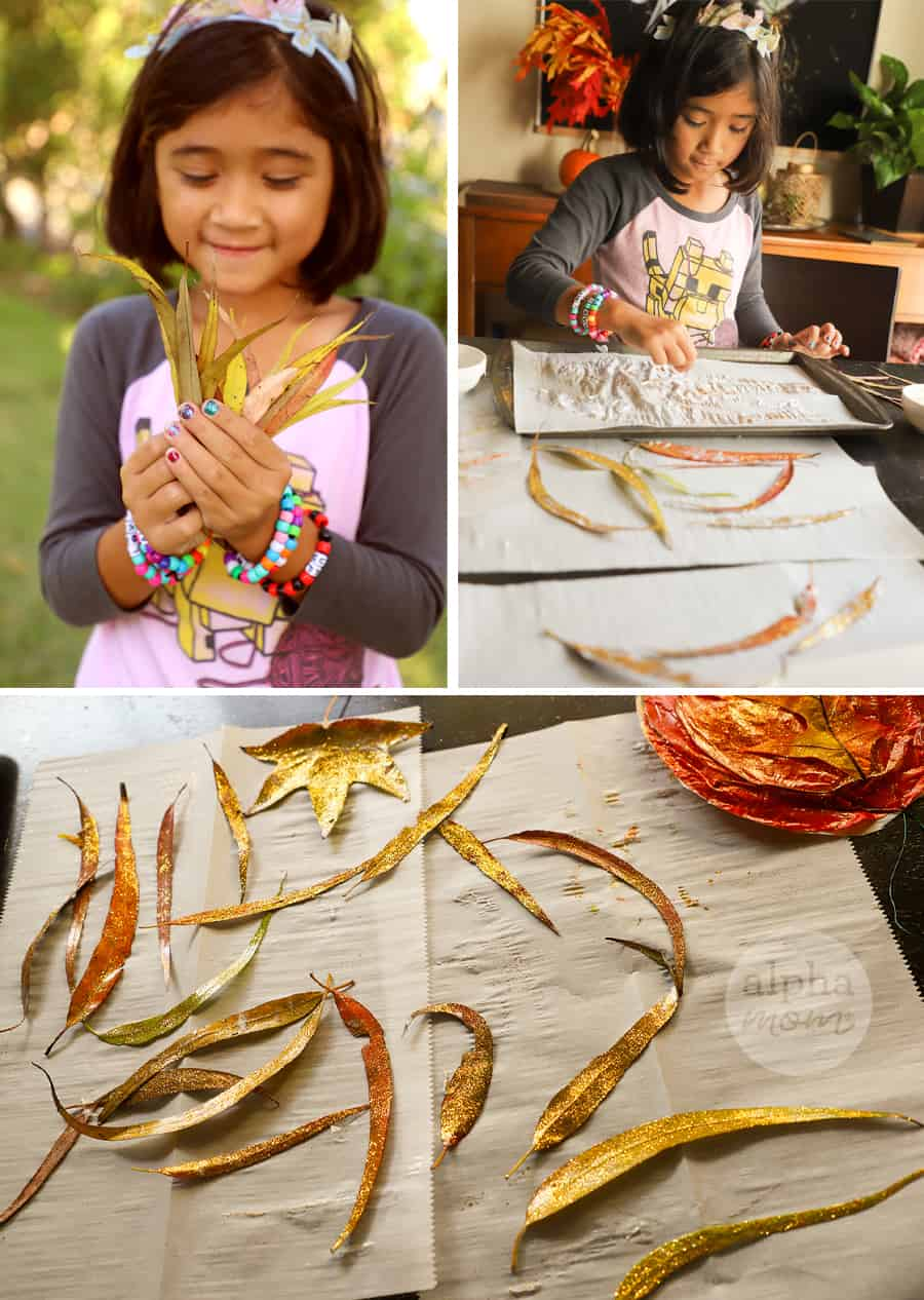 three photos of girl collecting leaves and adding glitter to them