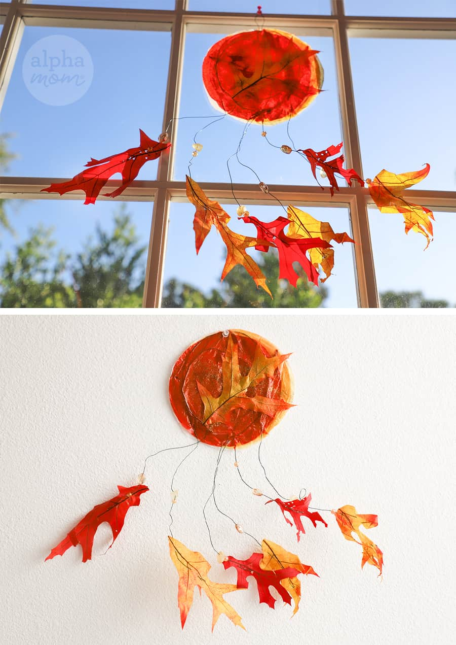 two clos-up photos of the leaf and tissue paper suncatcher, one at the window and the other against a white wall