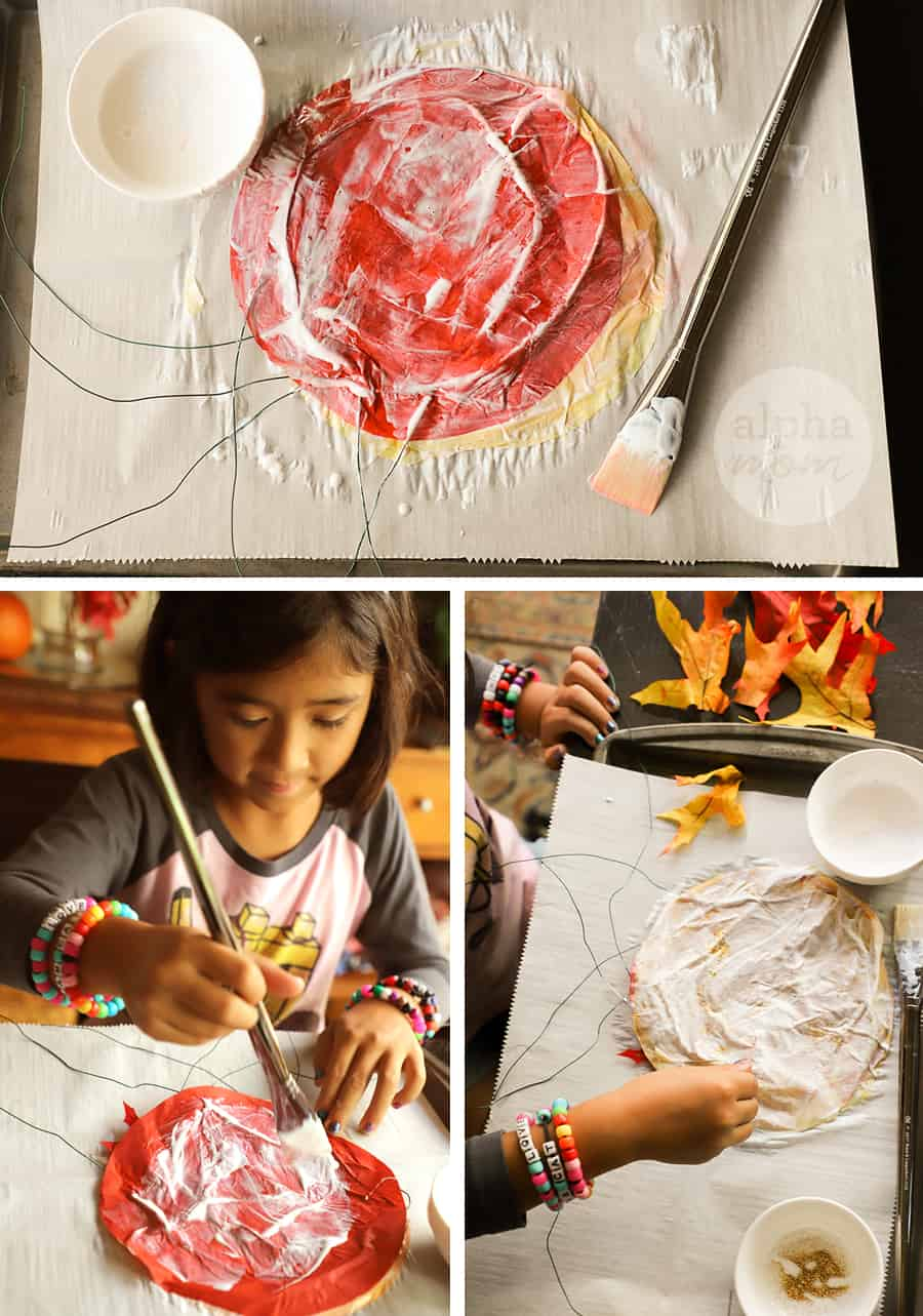 three pictures showing modge podge glue being applied by girl to suncatcher leaf craft