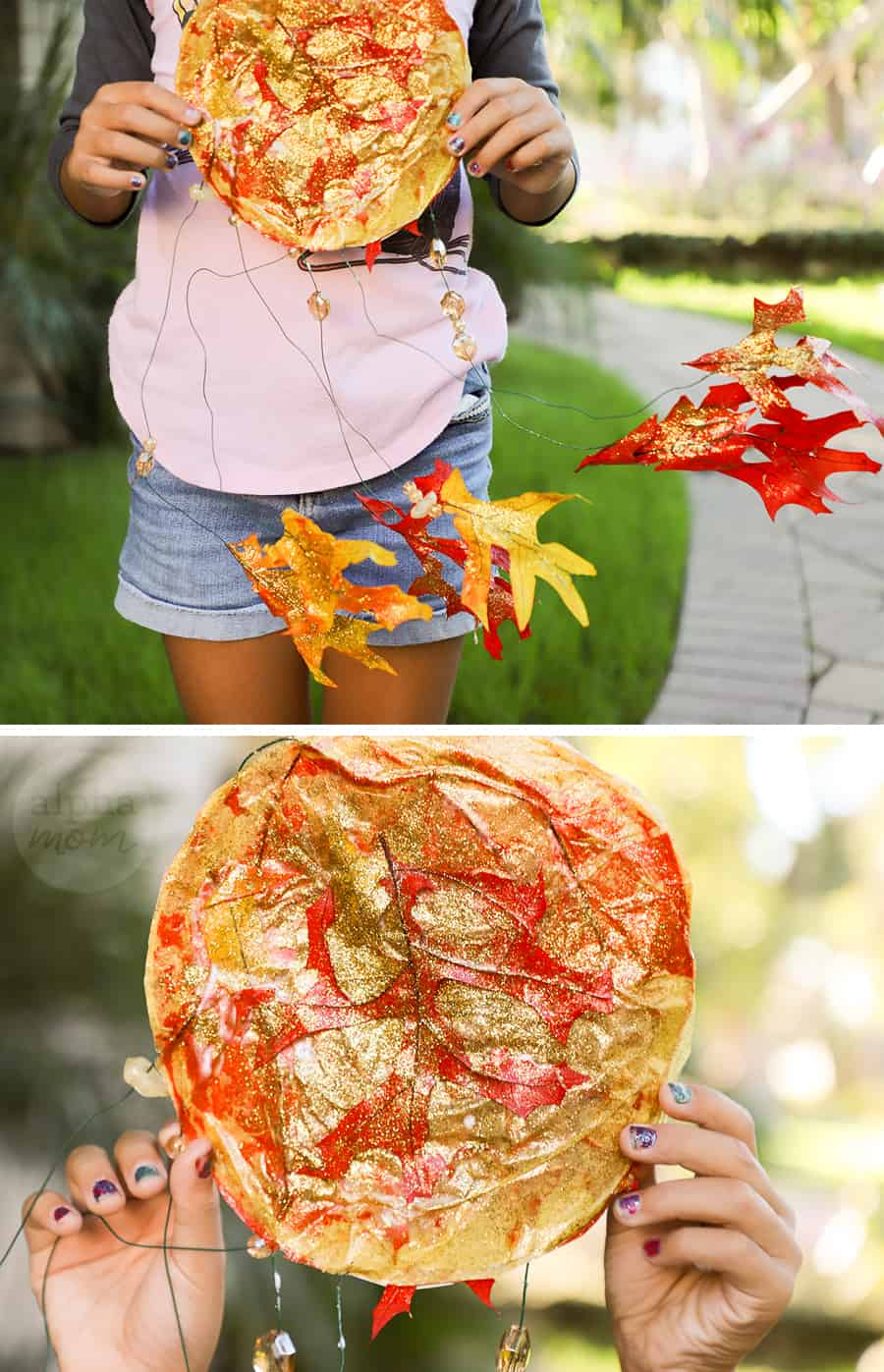 two close-up photos of the handmade tissue paper and leaf suncatcher