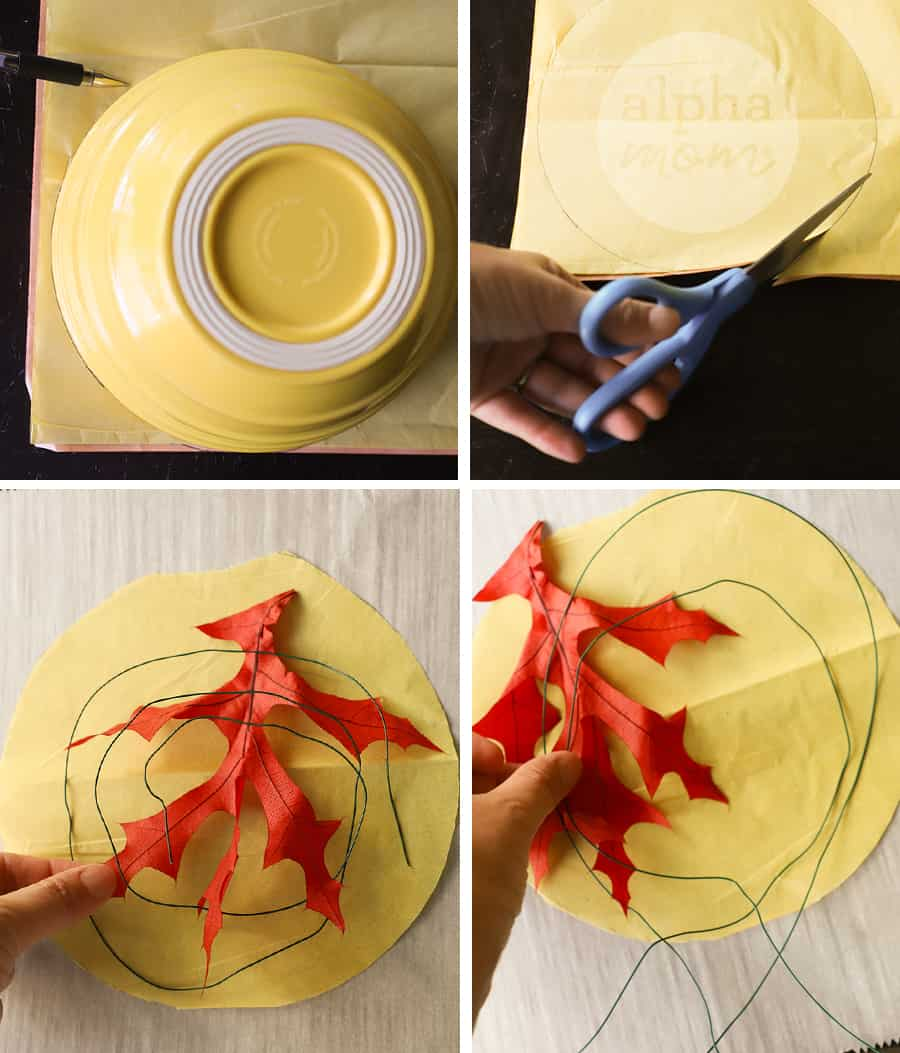 four pictures showing yellow tissue paper being cut into a circle to make suncatcher and orange leaf and floral wire being placed