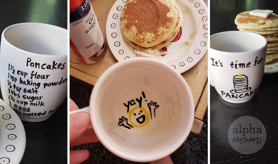 three pictures showing close-ups of painted pottery craft with pancake recipe as gift idea