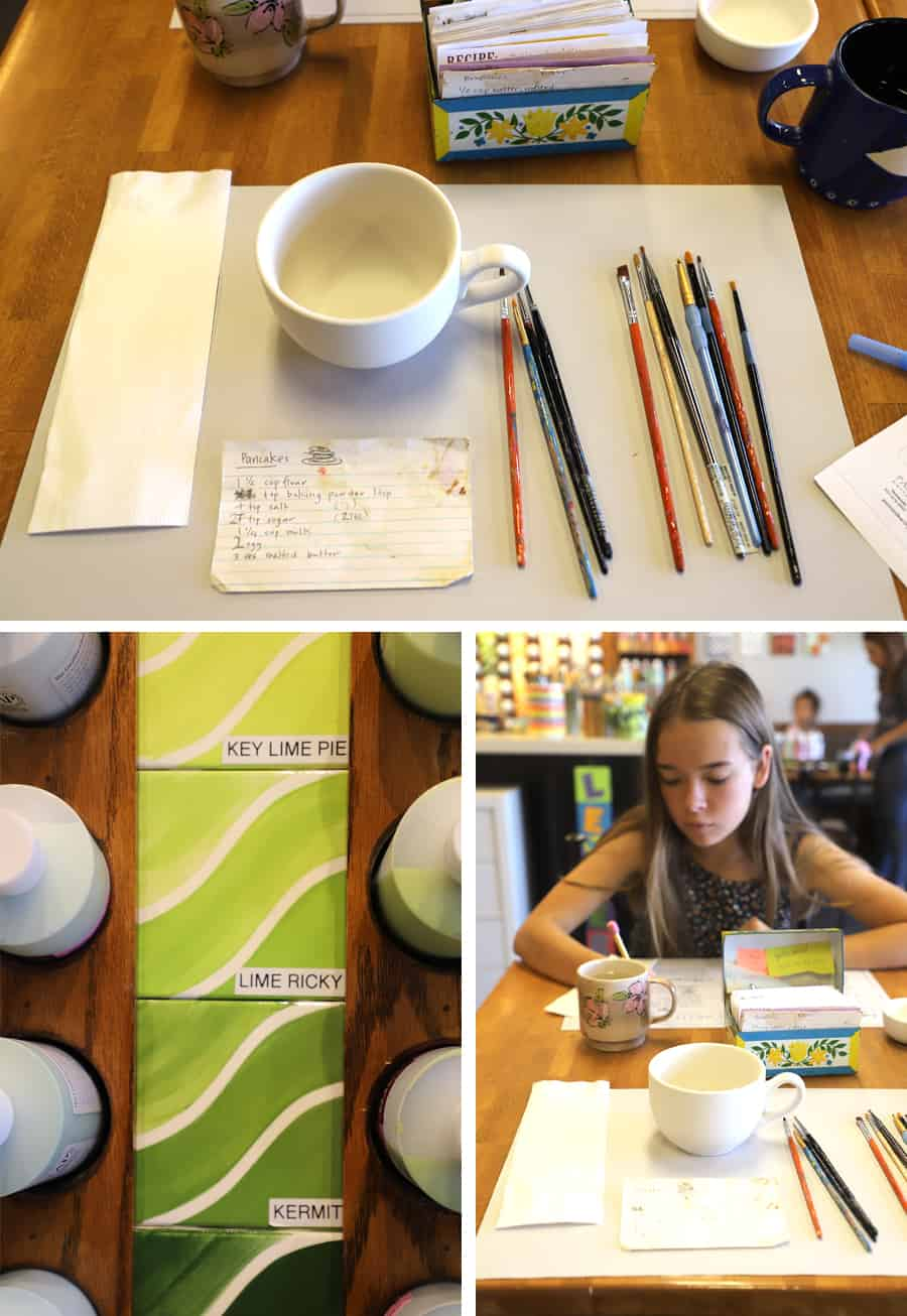 three pictures of supplies and teen girl at painting pottery studio ready to make her craft and gift