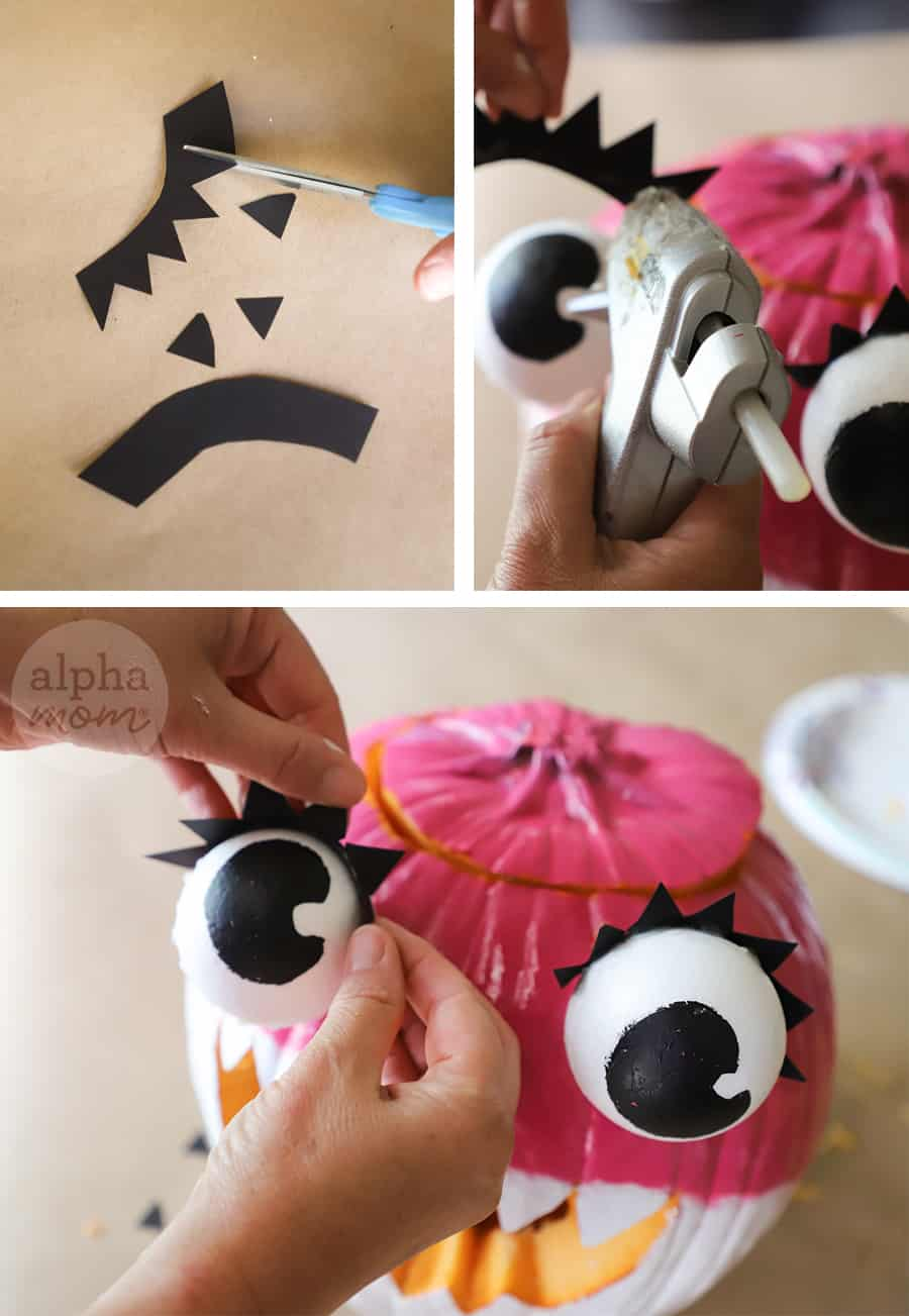 three photos showing how-to hot-glue black construction paper cut out as eyes to pink pumpkin to craft into Mommy Shark jack o'lantern