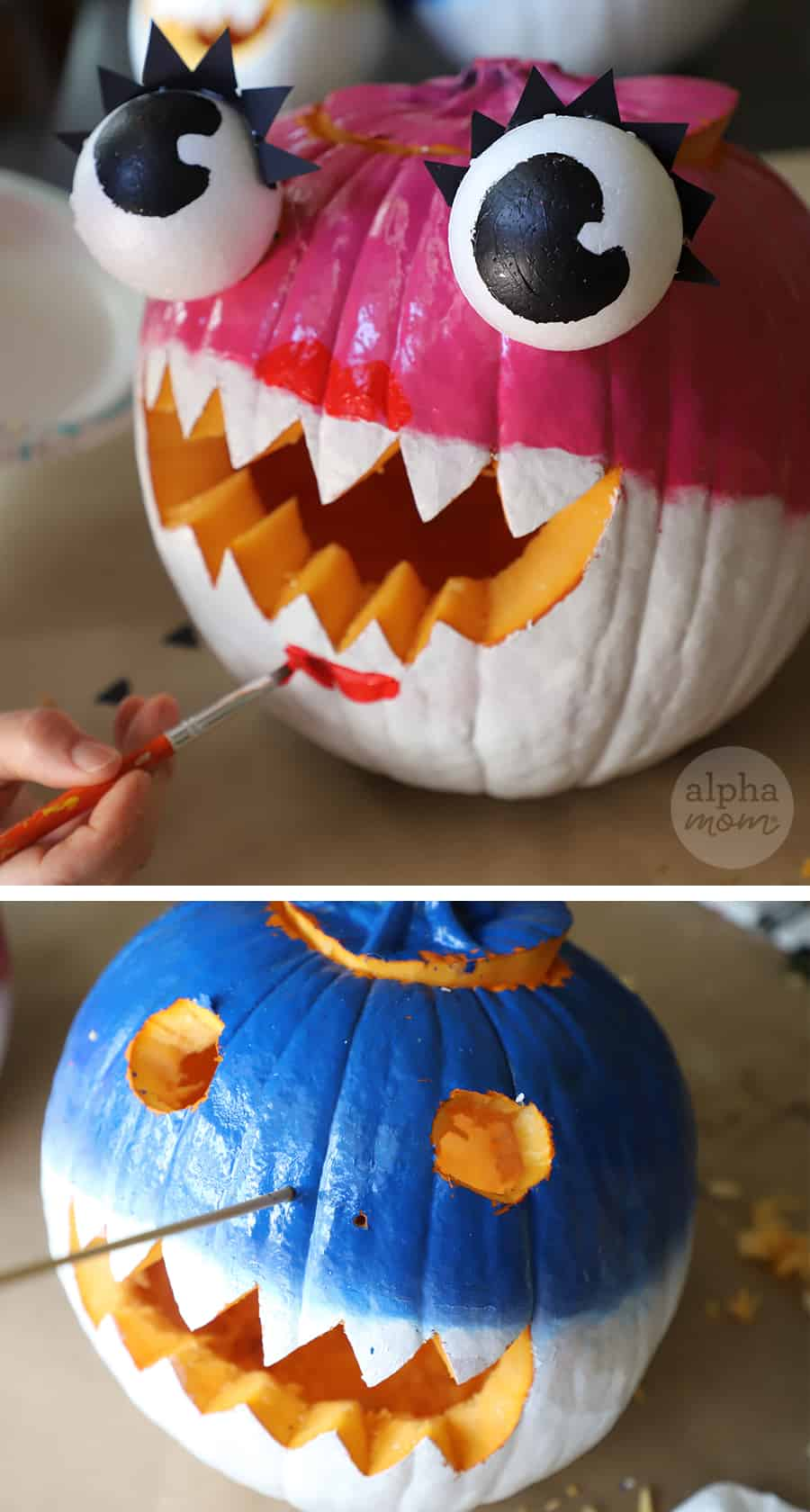 add details to pink and blue pumpkins to transform craft into Mommy and Daddy Shark jack o' lanterns