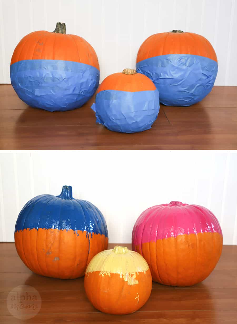 diptych with top picture of three pumpkins with lower half covered in blue painters tape and bottom picture of top half of pumpkins painted in each blue, pink and yellow paint