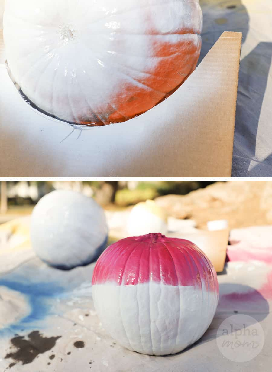 diptych with top picture showing top of pumpkin spray-painted in white and bottom photo showing pumpkin in half pink and half white paint