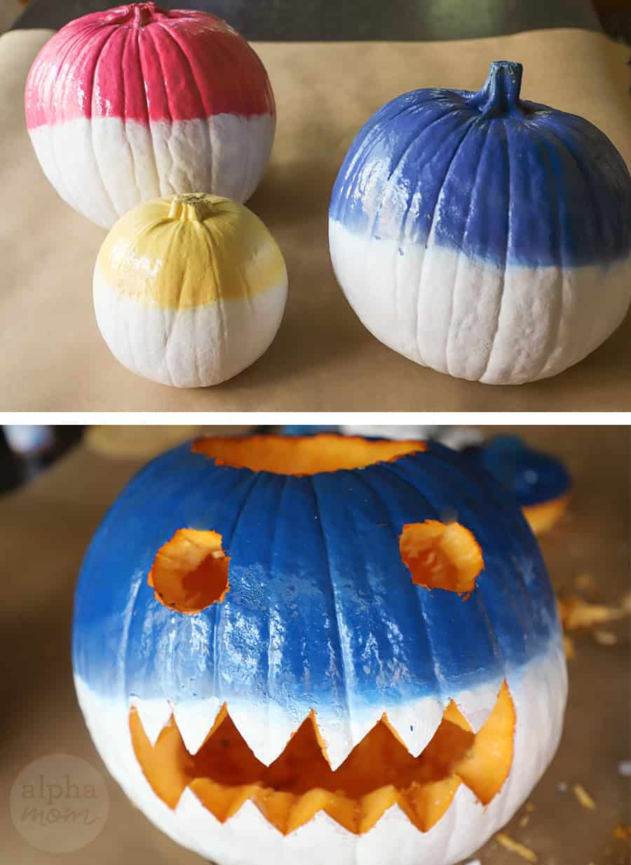 diptych with top photo of 3 pumpkins each colored with white on the bottom and either blue, pink or yellow on top. second photo is eyes and mouth carved into pumpkin for jack o lantern