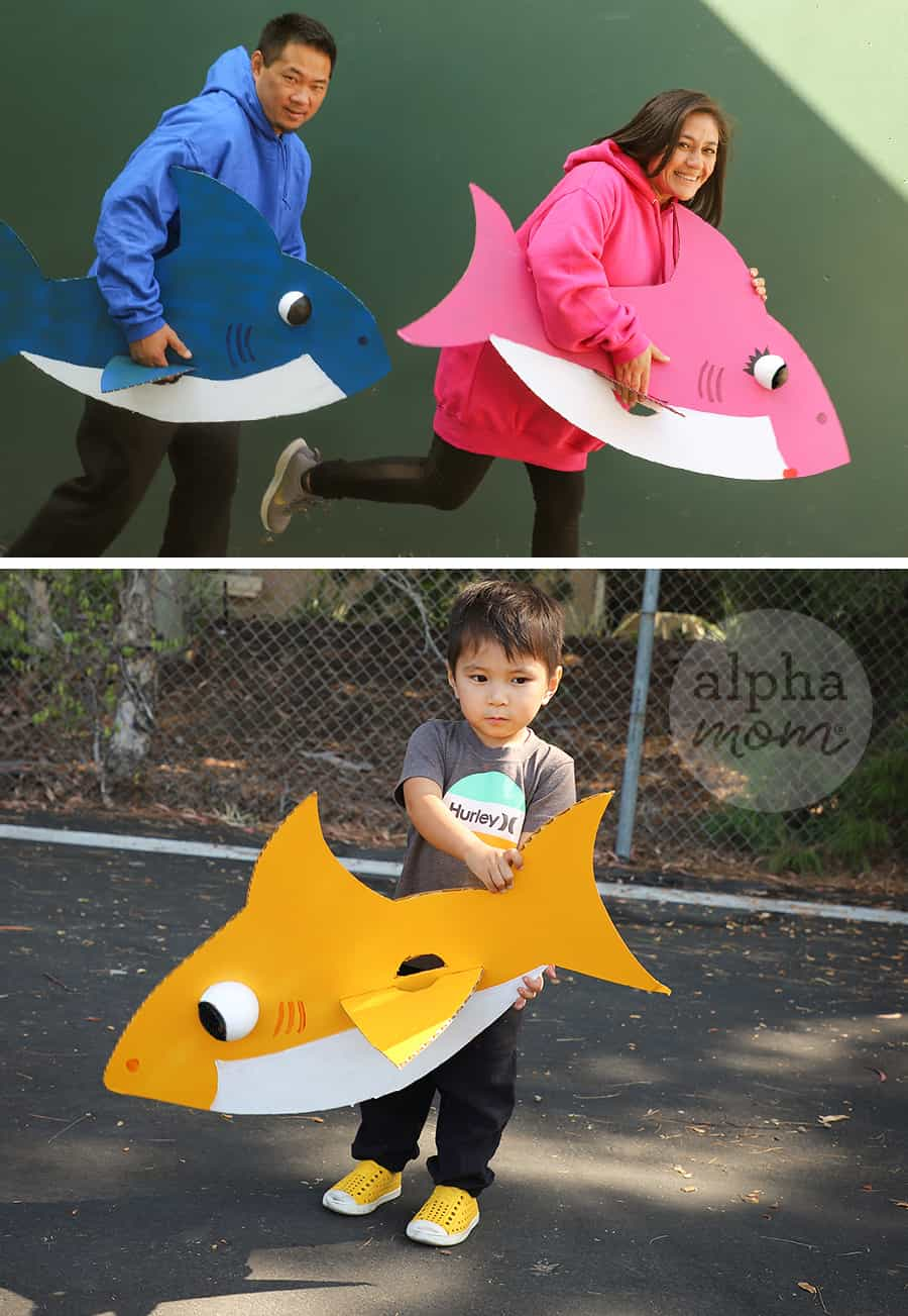 Two photos with the top one of mom and dad in homemade costume for characters Daddy Shark and Mommy Shark and bottom photo of toddler boy holding cardboard of Baby Shark