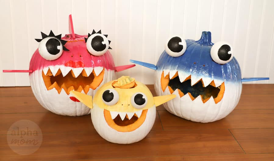 handpainted and crafted Mommy, Daddy and Baby Shark jack o lanter