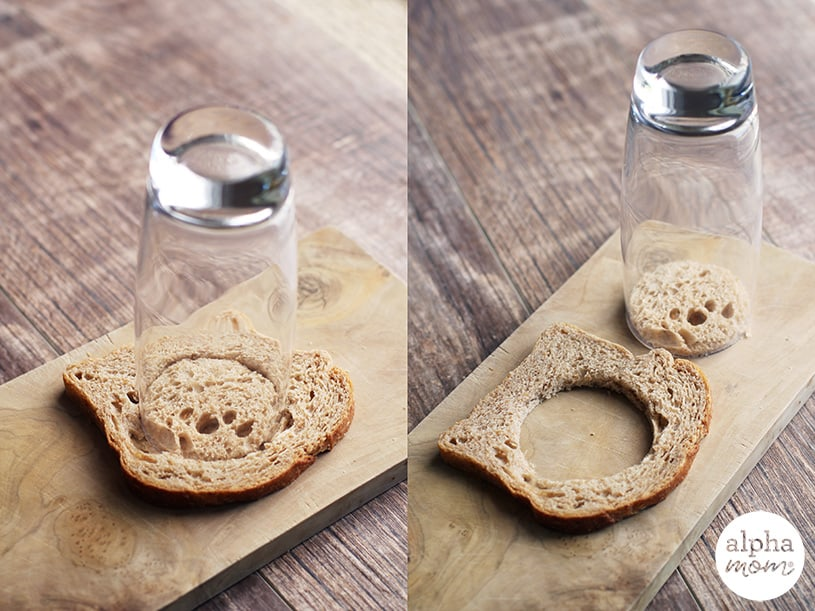 Prepping bread with a drinking glass for egg in a hole