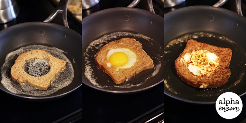 3 stages of cooking egg in a whole in a frying pan on the stove