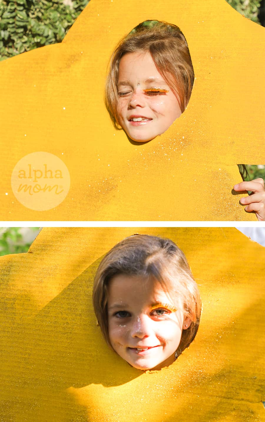 two photos of a girl poking her head through a gold cardboard cut into a star