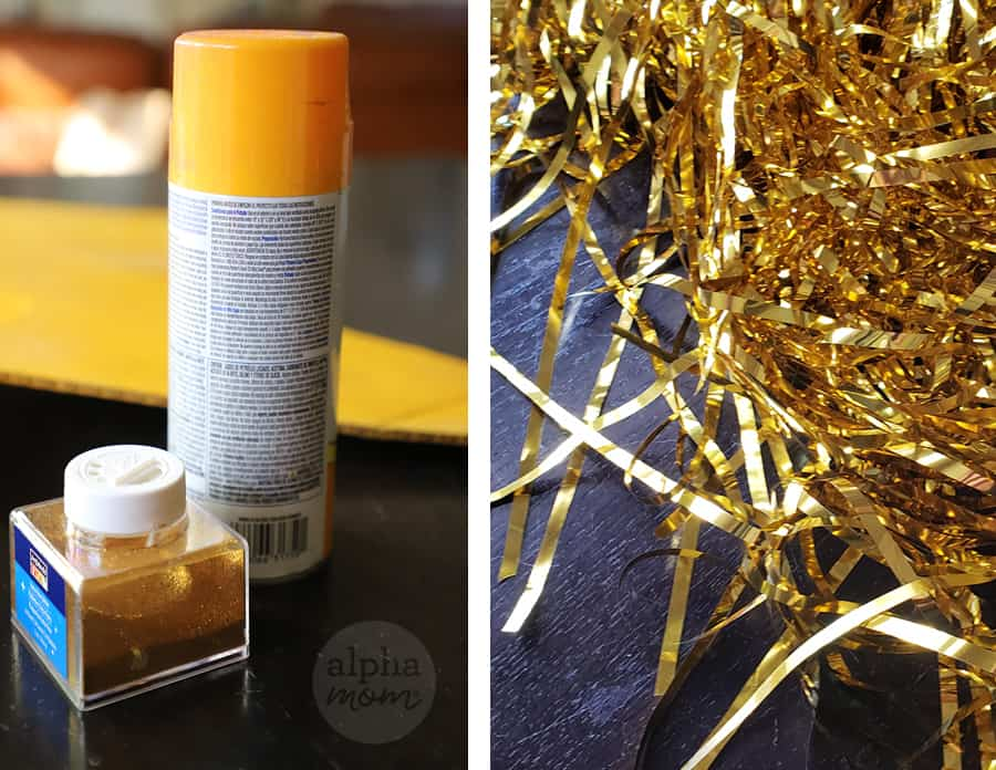 two photos of supplies of gold spray paint, gold fine glitter and gold shiny fringe to make shooting star handmade halloween costume