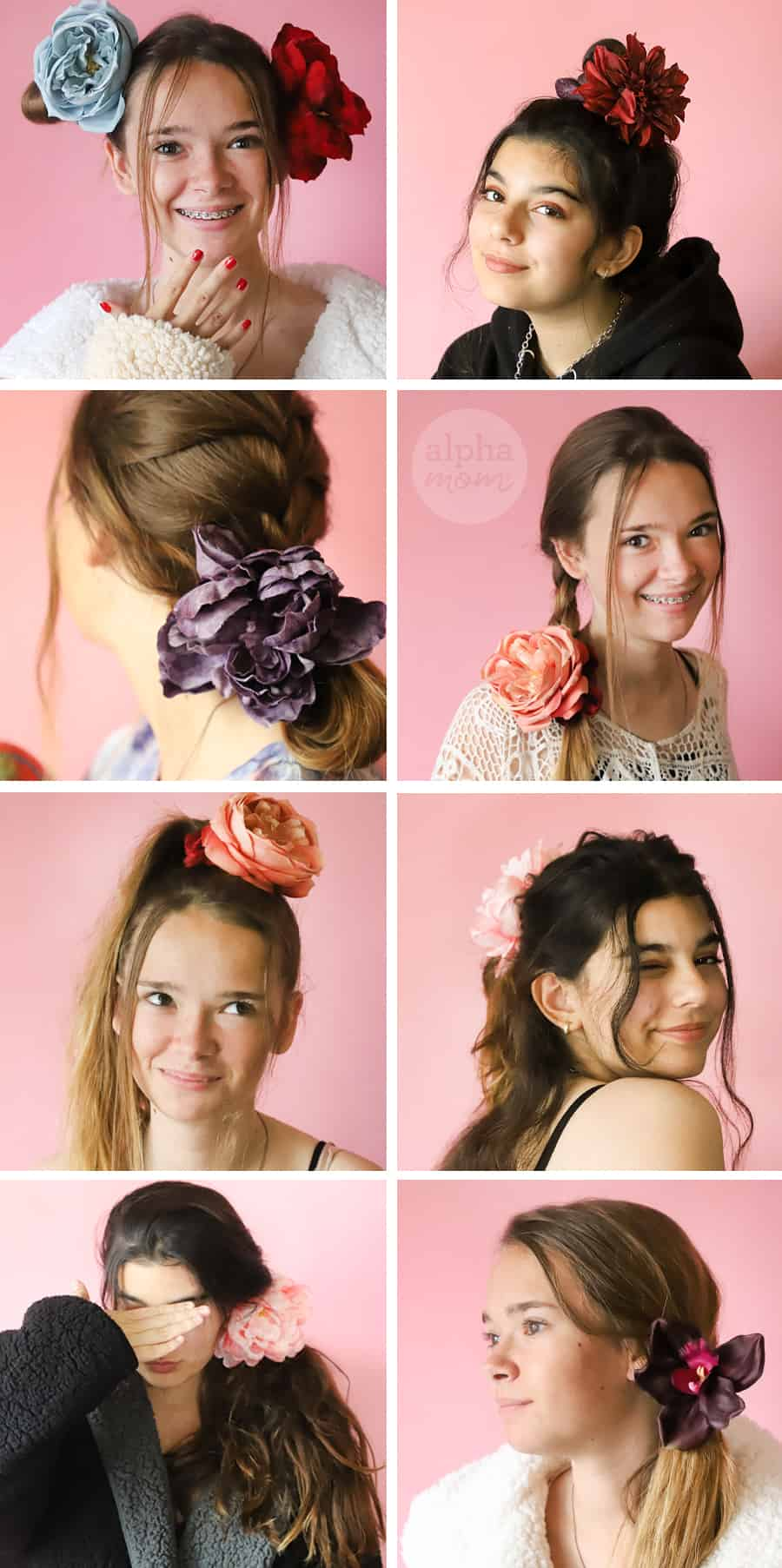 eight photos of two teen girls modeling different hairstyles they made using flower scrunchies