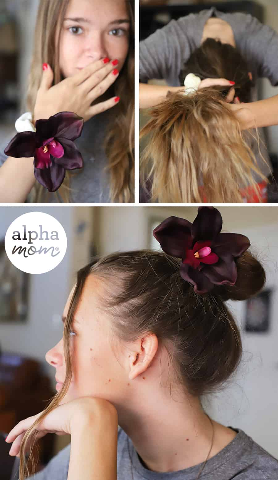 three photos of blond teen putting hair up in a top knot using a flower scunchie
