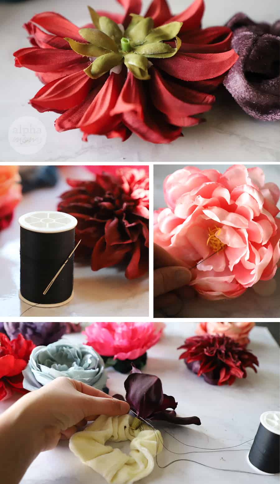 five close-up photos faux-flower and sewing supplies with flower being sewn onto hair scrunchie